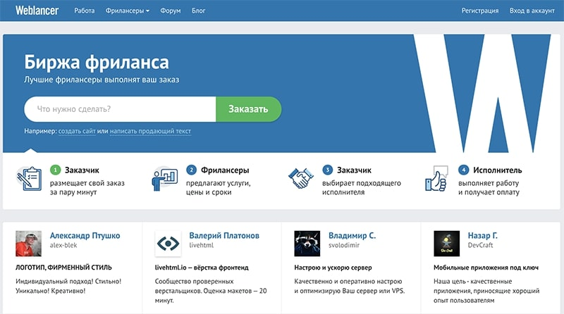 Фриланс-площадка Weblancer
