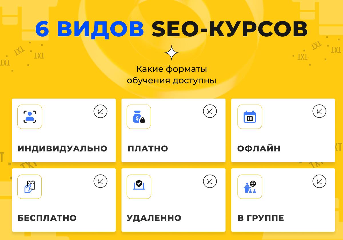 Инфографика: 6 видов SEO-курсов
